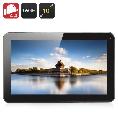 10.1 Inch Quad Core Tablet - A33 CPU, 1GB RAM, 16GB Memory, Android 4.4, Micro SD Slot, 5000mAh Batt